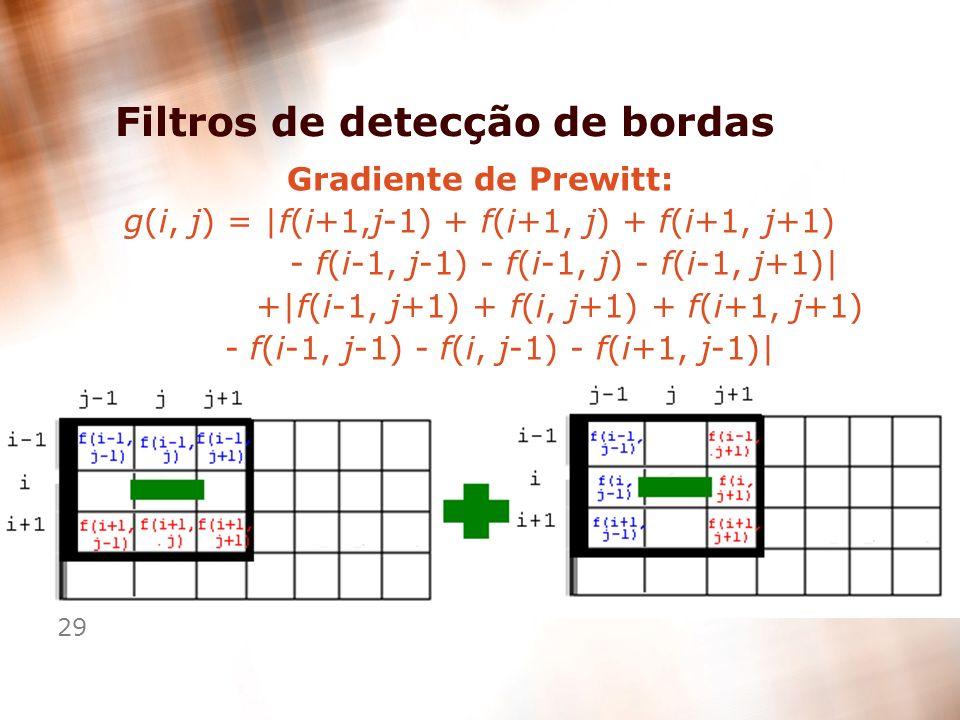 29 Filtros de detecção de bordas Gradiente de Prewitt: g(i, j) = |f(i+1,j-1) + f(i+1, j) + f(i+1, j+1) - f(i-1, j-1) - f(i-1, j) - f(i-1, j+1)| +|f(i-