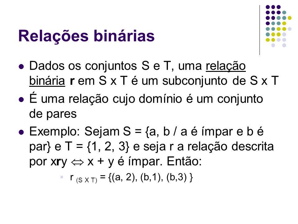 Relações binárias Dados os conjuntos S e T, uma relação binária r em S x T é um subconjunto de S x T É uma relação cujo domínio é um conjunto de pares