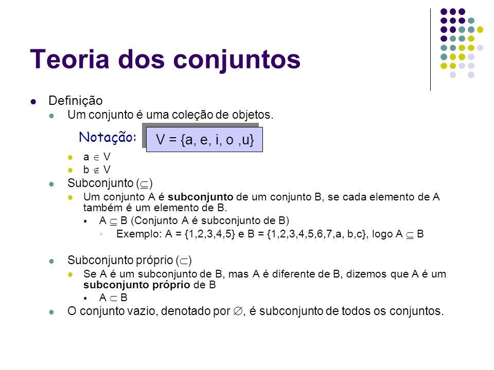 Teoria dos conjuntos Definição Um conjunto é uma coleção de objetos. a V b V Subconjunto ( ) Um conjunto A é subconjunto de um conjunto B, se cada ele