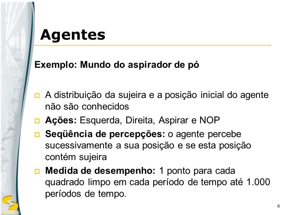 DSC/CCT/UFCG 4 Exemplo: Mundo do aspirador de pó A distribuição da sujeira e a posição inicial do agente não são conhecidos Ações: Esquerda, Direita,