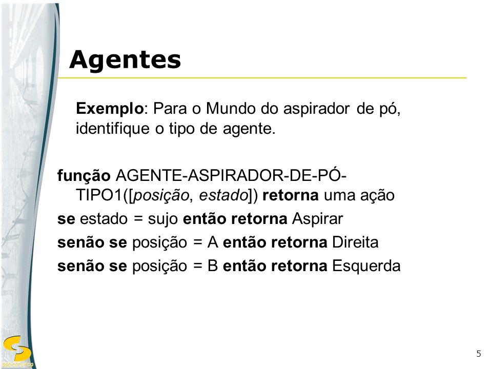 DSC/CCT/UFCG 5 Exemplo: Para o Mundo do aspirador de pó, identifique o tipo de agente. função AGENTE-ASPIRADOR-DE-PÓ- TIPO1([posição, estado]) retorna