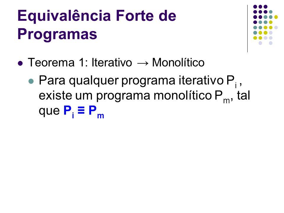 Equivalência Forte de Programas Teorema 1: Iterativo Monolítico Para qualquer programa iterativo P i, existe um programa monolítico P m, tal que P i P