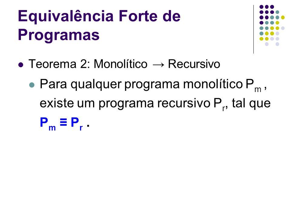 Equivalência Forte de Programas Teorema 2: Monolítico Recursivo Para qualquer programa monolítico P m, existe um programa recursivo P r, tal que P m P