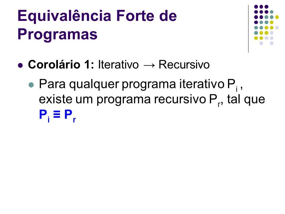 Equivalência Forte de Programas Corolário 1: Iterativo Recursivo Para qualquer programa iterativo P i, existe um programa recursivo P r, tal que P i P
