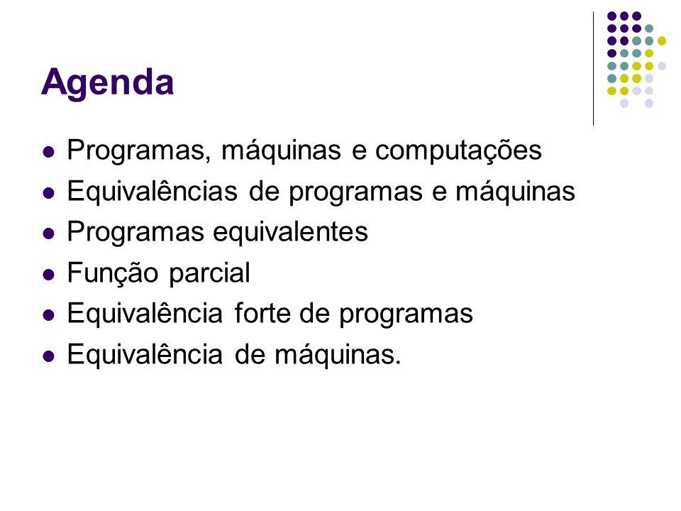 Agenda Programas, máquinas e computações Equivalências de programas e máquinas Programas equivalentes Função parcial Equivalência forte de programas E