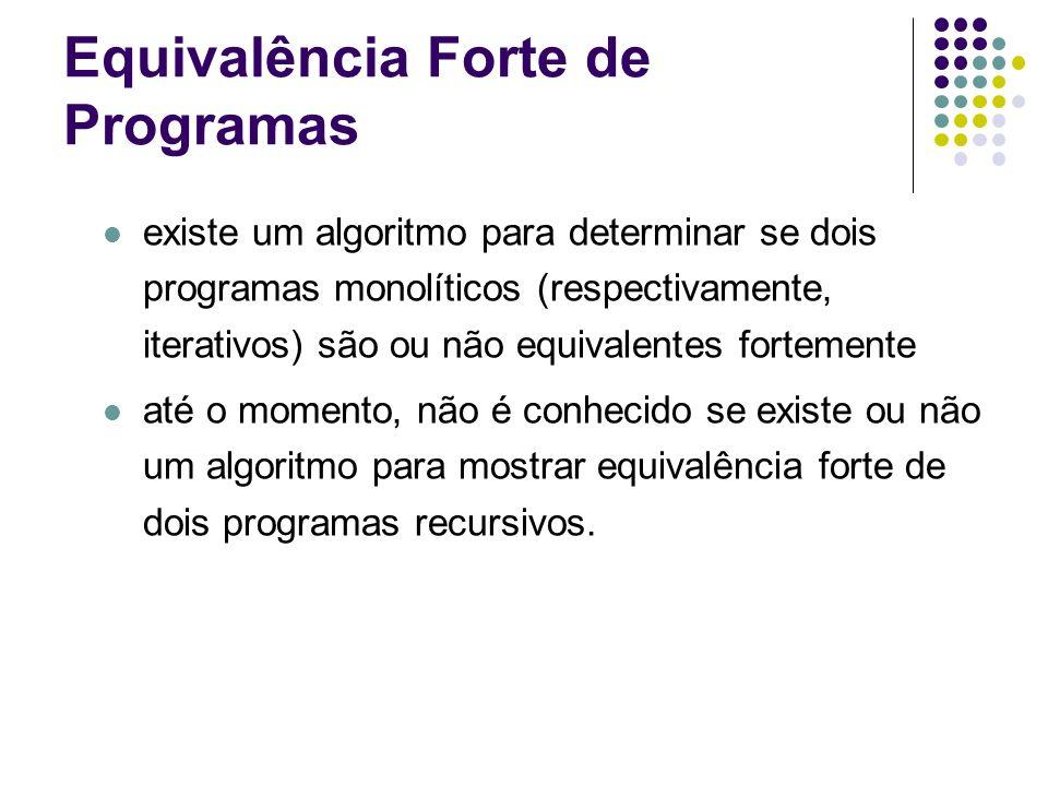Equivalência Forte de Programas existe um algoritmo para determinar se dois programas monolíticos (respectivamente, iterativos) são ou não equivalente