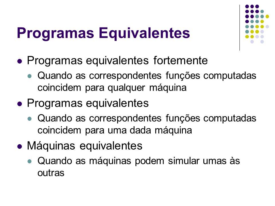 Programas Equivalentes Programas equivalentes fortemente Quando as correspondentes funções computadas coincidem para qualquer máquina Programas equiva