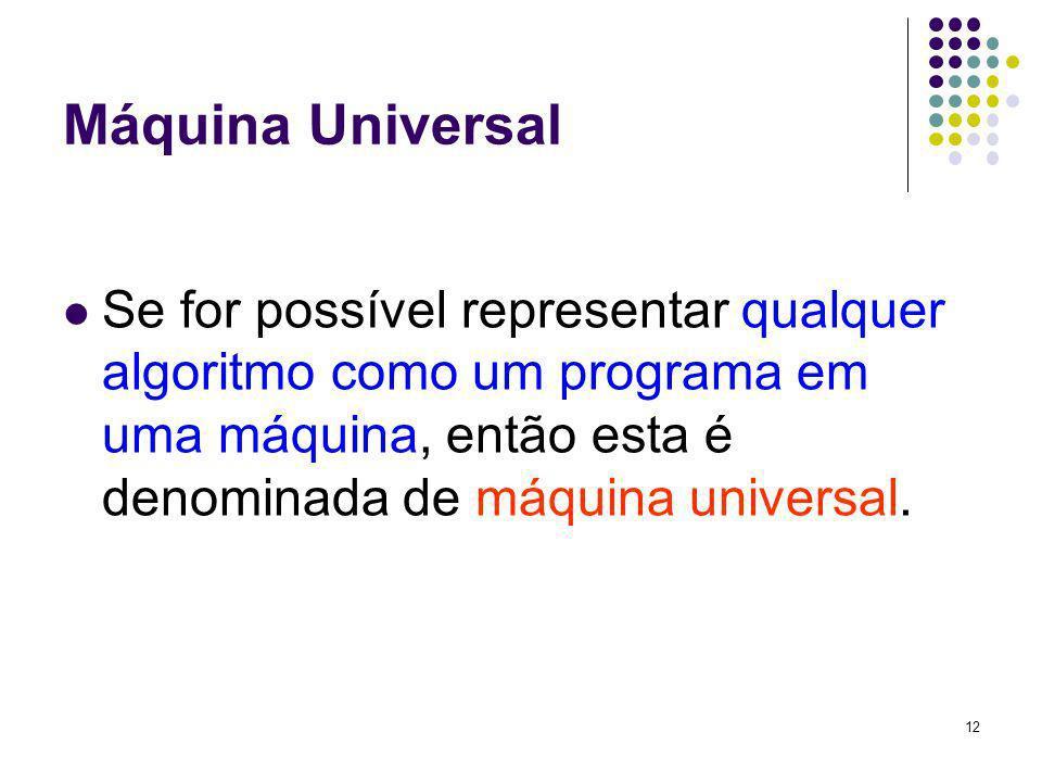 12 Máquina Universal Se for possível representar qualquer algoritmo como um programa em uma máquina, então esta é denominada de máquina universal.