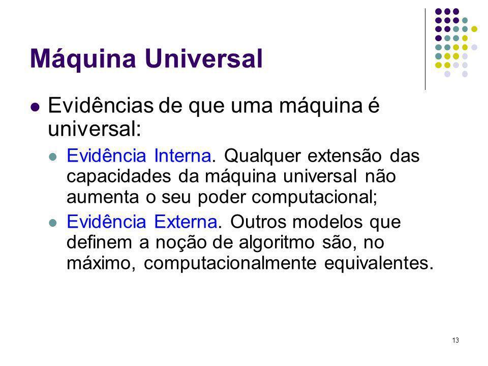 13 Máquina Universal Evidências de que uma máquina é universal: Evidência Interna. Qualquer extensão das capacidades da máquina universal não aumenta