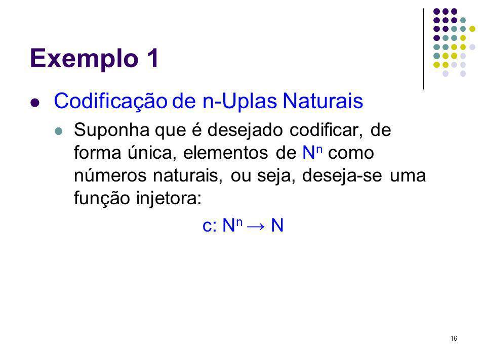 16 Exemplo 1 Codificação de n-Uplas Naturais Suponha que é desejado codificar, de forma única, elementos de N n como números naturais, ou seja, deseja