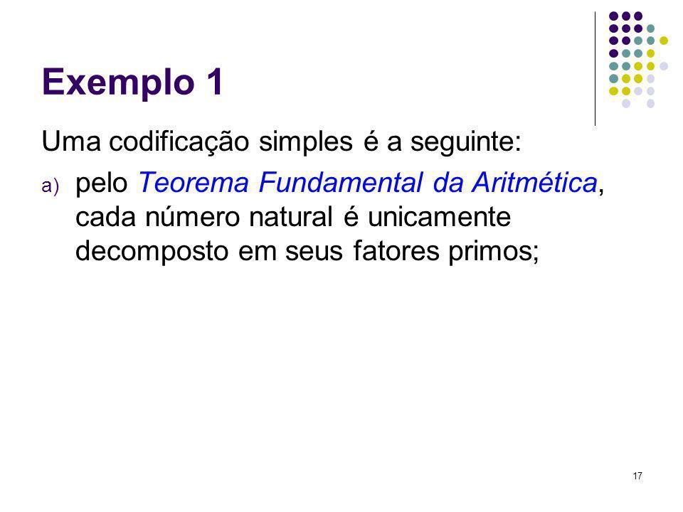 17 Exemplo 1 Uma codificação simples é a seguinte: a) pelo Teorema Fundamental da Aritmética, cada número natural é unicamente decomposto em seus fato