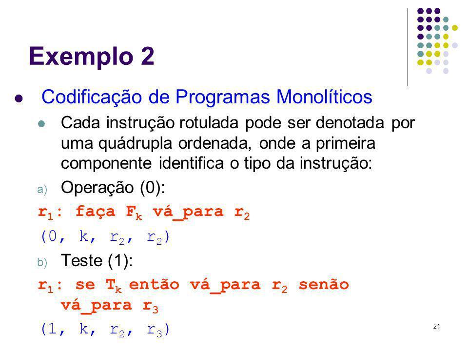 21 Exemplo 2 Codificação de Programas Monolíticos Cada instrução rotulada pode ser denotada por uma quádrupla ordenada, onde a primeira componente ide