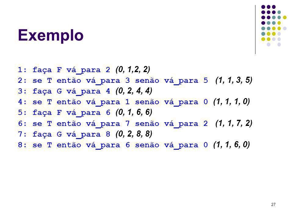 27 Exemplo 1: faça F vá_para 2 (0, 1,2, 2) 2: se T então vá_para 3 senão vá_para 5 (1, 1, 3, 5) 3: faça G vá_para 4 (0, 2, 4, 4) 4: se T então vá_para