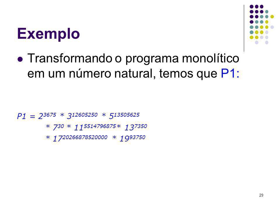 29 Exemplo Transformando o programa monolítico em um número natural, temos que P1: P1 = 2 3675 * 3 12605250 * 5 13505625 * 7 30 * 11 5514796875 * 13 7
