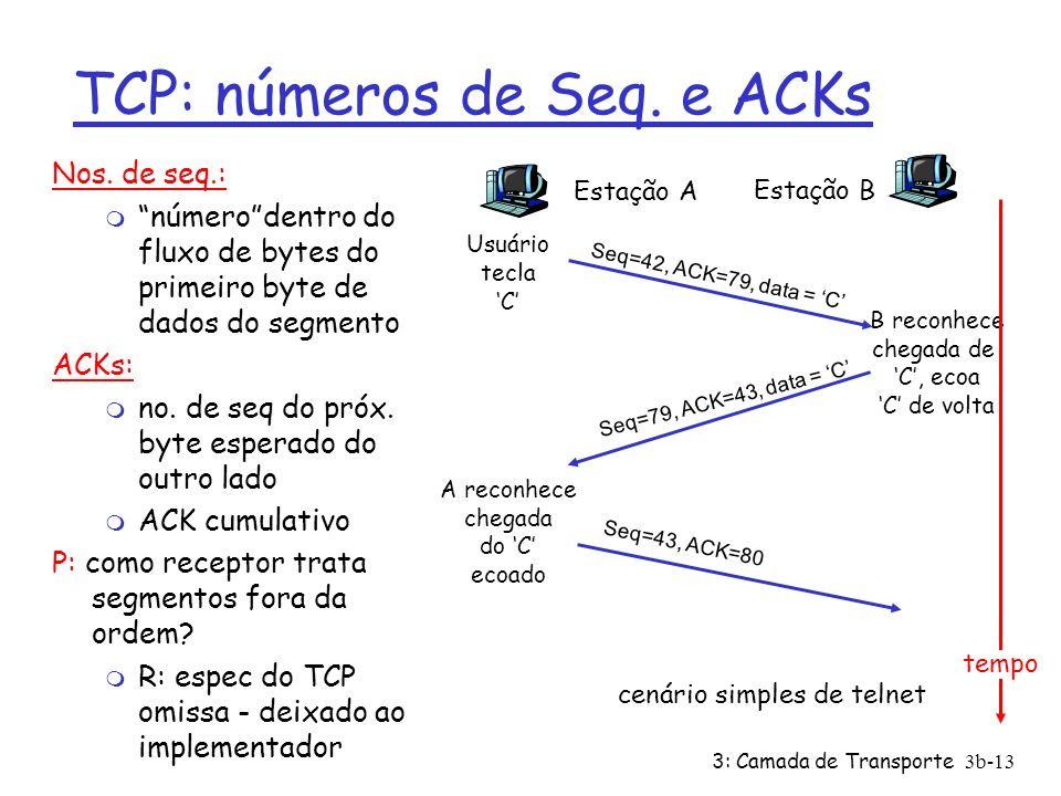 3: Camada de Transporte3b-13 TCP: números de Seq. e ACKs Nos. de seq.: m númerodentro do fluxo de bytes do primeiro byte de dados do segmento ACKs: m
