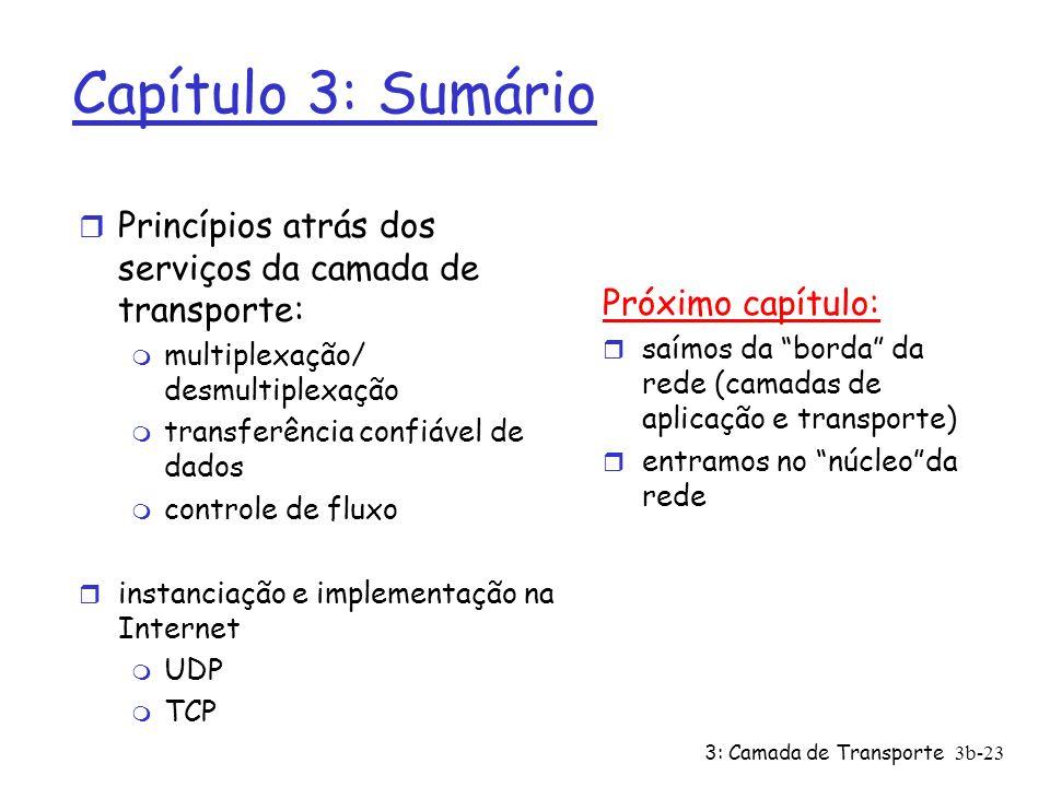 3: Camada de Transporte3b-23 Capítulo 3: Sumário r Princípios atrás dos serviços da camada de transporte: m multiplexação/ desmultiplexação m transfer