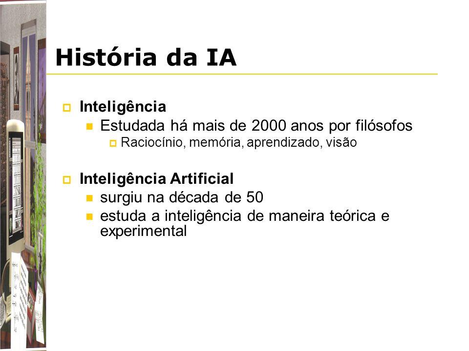 História da IA Inteligência Estudada há mais de 2000 anos por filósofos Raciocínio, memória, aprendizado, visão Inteligência Artificial surgiu na déca