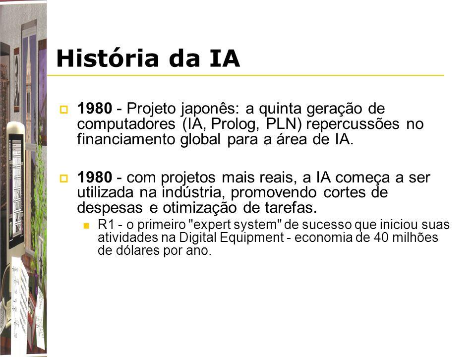 História da IA 1980 - Projeto japonês: a quinta geração de computadores (IA, Prolog, PLN) repercussões no financiamento global para a área de IA. 1980