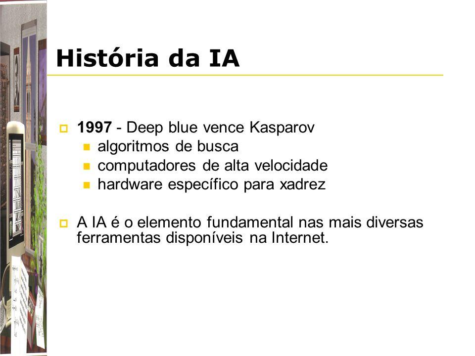 História da IA 1997 - Deep blue vence Kasparov algoritmos de busca computadores de alta velocidade hardware específico para xadrez A IA é o elemento f