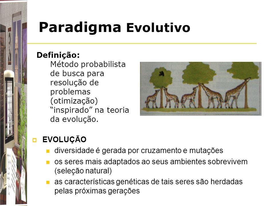 Paradigma Evolutivo EVOLUÇÃO diversidade é gerada por cruzamento e mutações os seres mais adaptados ao seus ambientes sobrevivem (seleção natural) as
