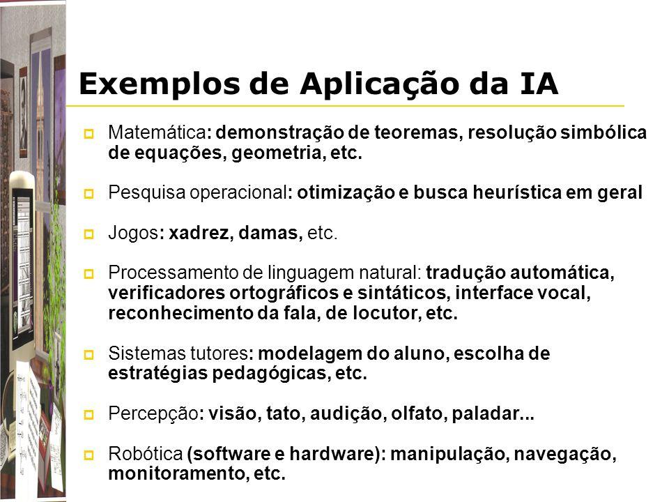 Exemplos de Aplicação da IA Matemática: demonstração de teoremas, resolução simbólica de equações, geometria, etc. Pesquisa operacional: otimização e