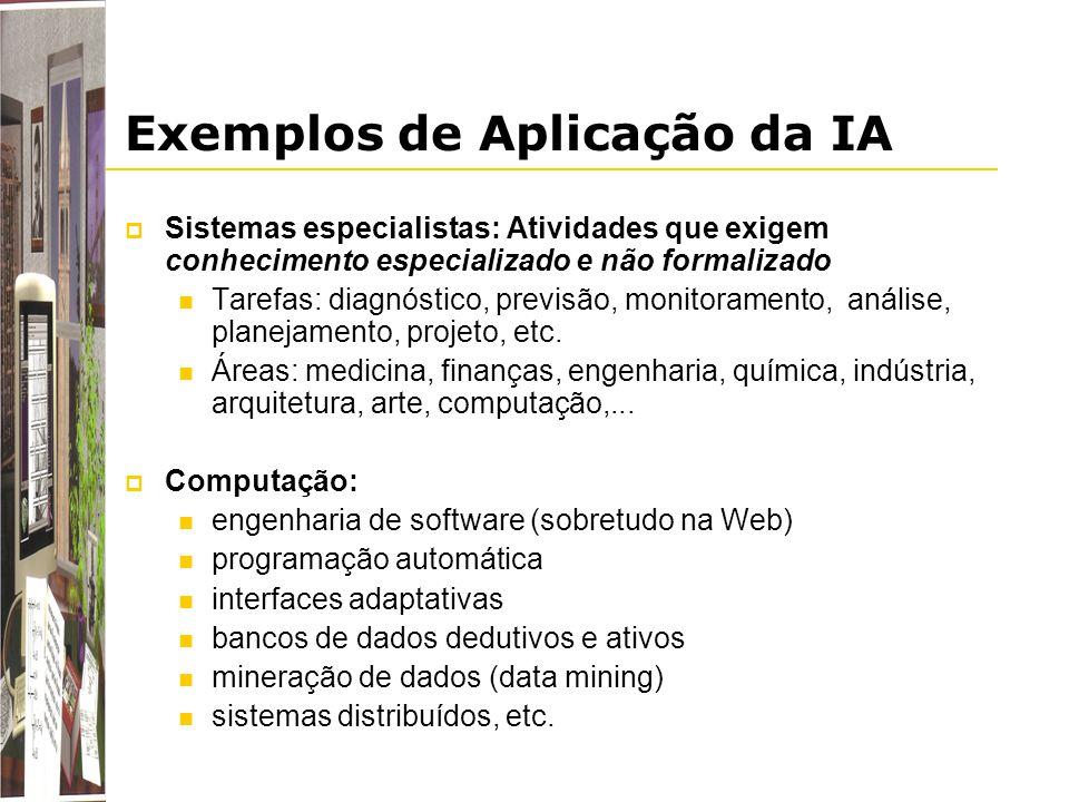 Exemplos de Aplicação da IA Sistemas especialistas: Atividades que exigem conhecimento especializado e não formalizado Tarefas: diagnóstico, previsão,