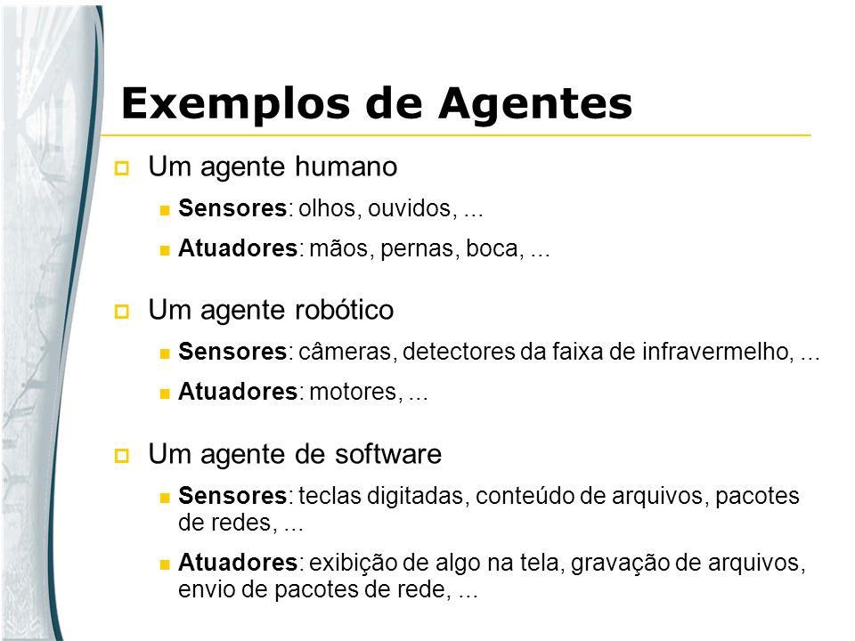 Um agente humano Sensores: olhos, ouvidos,... Atuadores: mãos, pernas, boca,... Um agente robótico Sensores: câmeras, detectores da faixa de infraverm