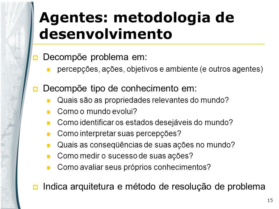 15 Agentes: metodologia de desenvolvimento Decompõe problema em: percepções, ações, objetivos e ambiente (e outros agentes) Decompõe tipo de conhecime
