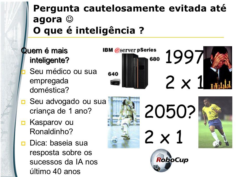 Pergunta cautelosamente evitada até agora O que é inteligência ? Quem é mais inteligente? Seu médico ou sua empregada doméstica? Seu advogado ou sua c