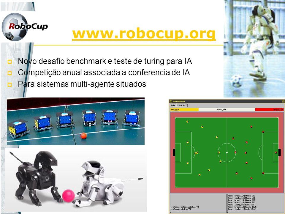 www.robocup.org Novo desafio benchmark e teste de turing para IA Competição anual associada a conferencia de IA Para sistemas multi-agente situados