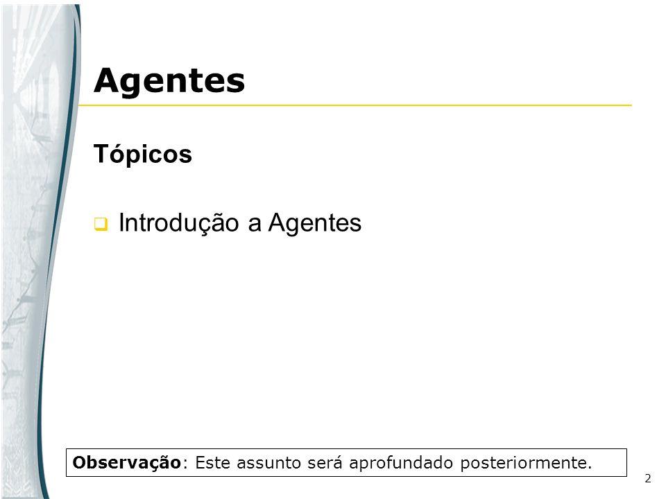 2 Agentes Tópicos Introdução a Agentes Observação: Este assunto será aprofundado posteriormente.