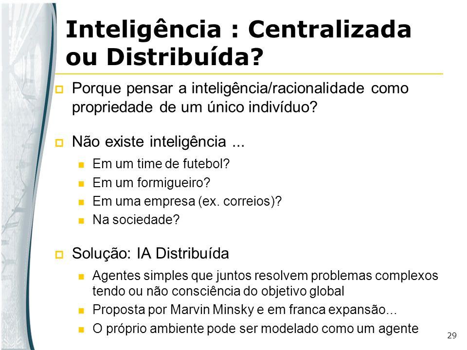 29 Porque pensar a inteligência/racionalidade como propriedade de um único indivíduo? Não existe inteligência... Em um time de futebol? Em um formigue