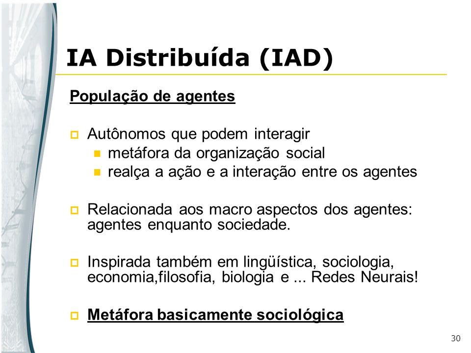 30 IA Distribuída (IAD) População de agentes Autônomos que podem interagir metáfora da organização social realça a ação e a interação entre os agentes