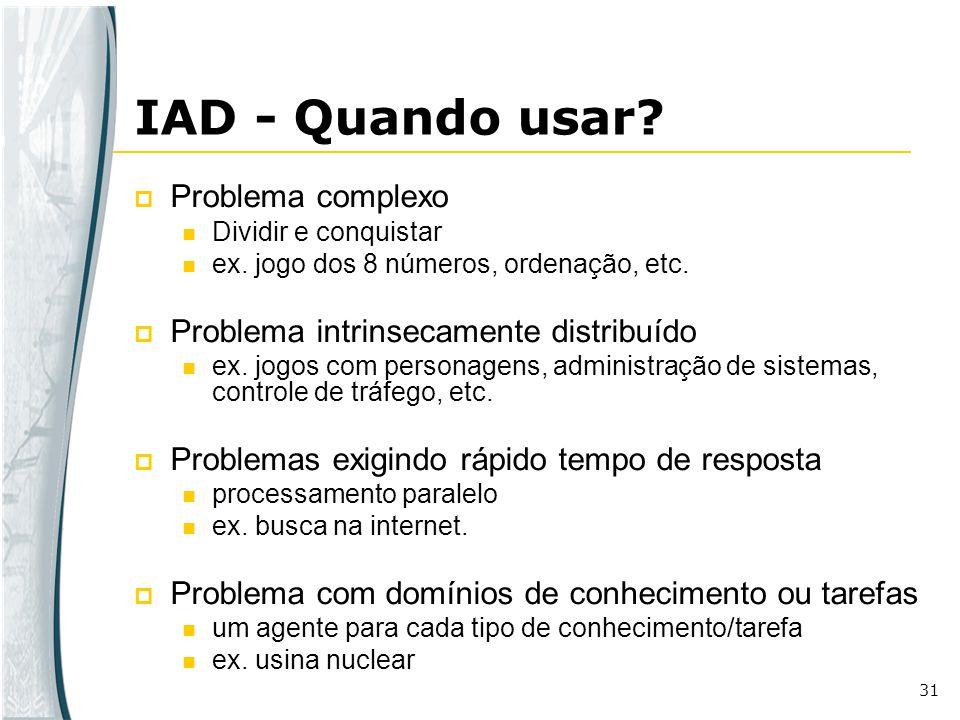31 IAD - Quando usar? Problema complexo Dividir e conquistar ex. jogo dos 8 números, ordenação, etc. Problema intrinsecamente distribuído ex. jogos co