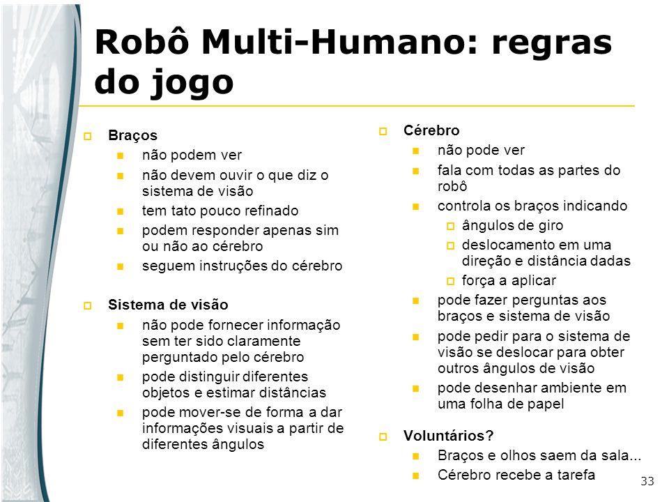 33 Robô Multi-Humano: regras do jogo Braços não podem ver não devem ouvir o que diz o sistema de visão tem tato pouco refinado podem responder apenas