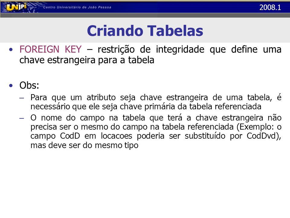 2008.1 Criando Tabelas FOREIGN KEY – restrição de integridade que define uma chave estrangeira para a tabela Obs: – Para que um atributo seja chave es