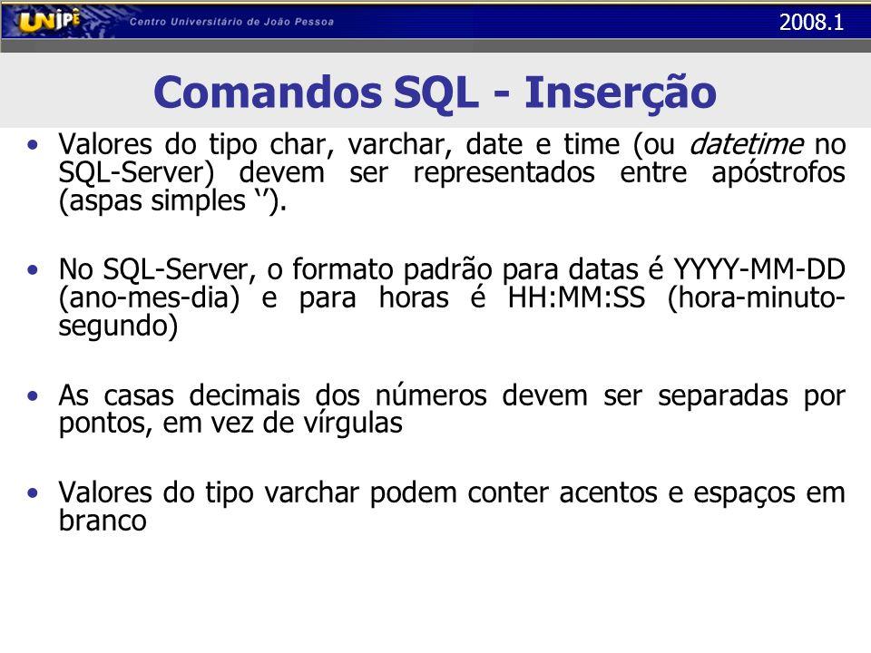 2008.1 Comandos SQL - Inserção Valores do tipo char, varchar, date e time (ou datetime no SQL-Server) devem ser representados entre apóstrofos (aspas