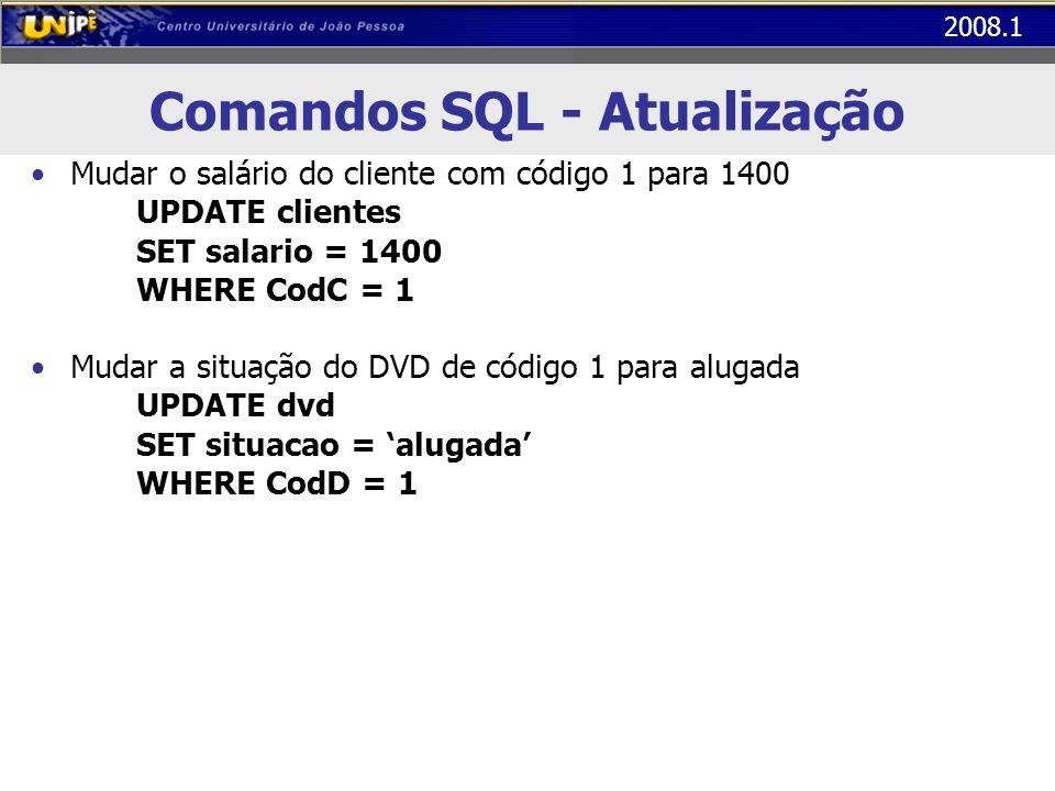 2008.1 Comandos SQL - Atualização Mudar o salário do cliente com código 1 para 1400 UPDATE clientes SET salario = 1400 WHERE CodC = 1 Mudar a situação