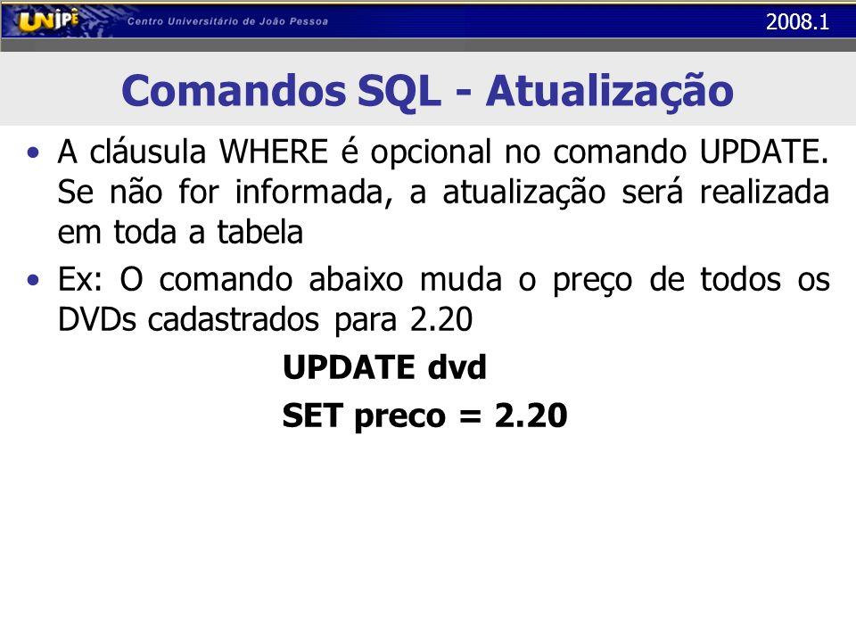 2008.1 Comandos SQL - Atualização A cláusula WHERE é opcional no comando UPDATE. Se não for informada, a atualização será realizada em toda a tabela E