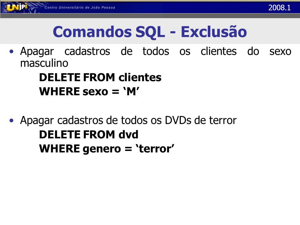 2008.1 Comandos SQL - Exclusão Apagar cadastros de todos os clientes do sexo masculino DELETE FROM clientes WHERE sexo = M Apagar cadastros de todos o