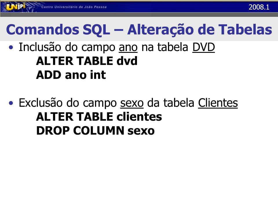 2008.1 Comandos SQL – Alteração de Tabelas Inclusão do campo ano na tabela DVD ALTER TABLE dvd ADD ano int Exclusão do campo sexo da tabela Clientes A