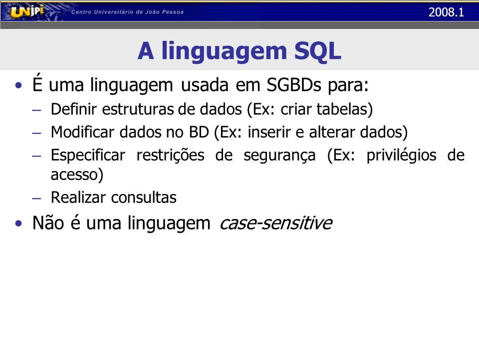 2008.1 A linguagem SQL Definição de Dados: através da DDL possibilita a definição da estrutura e organização dos dados Manipulação de Dados: através da DML possibilita a manipulação dos dados armazenados, compreendendo inclusão, consulta, alteração e eliminação..