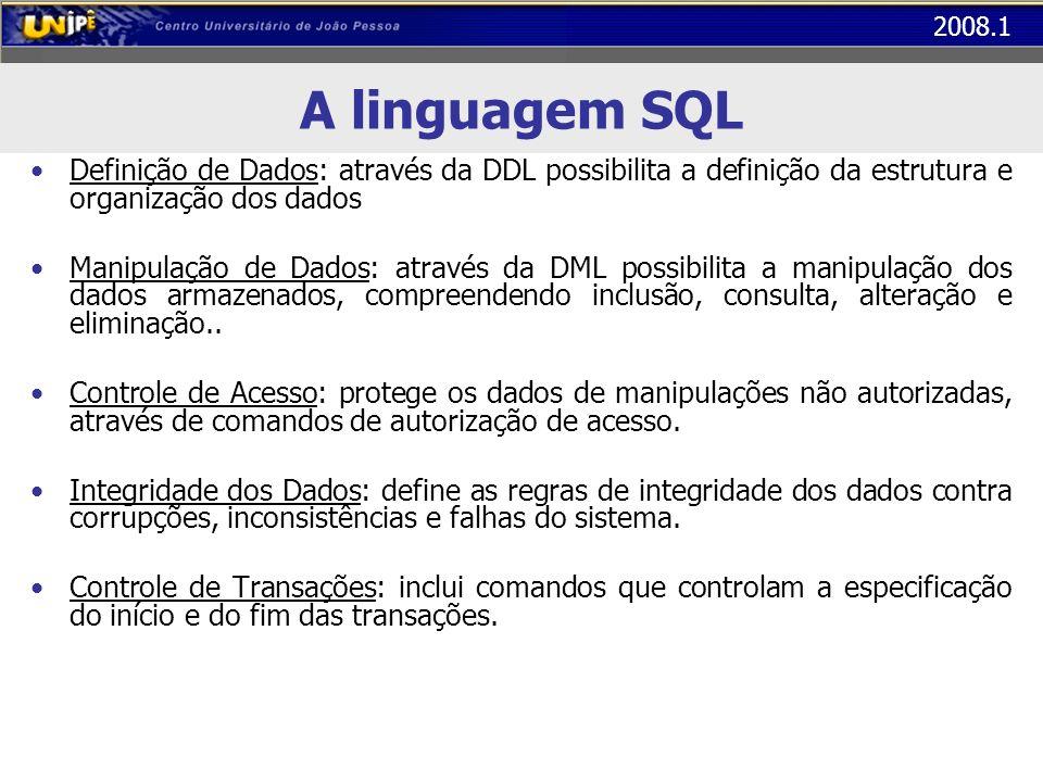 2008.1 A linguagem SQL Definição de Dados: através da DDL possibilita a definição da estrutura e organização dos dados Manipulação de Dados: através d