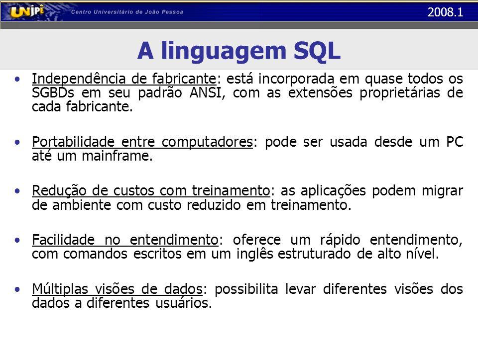 2008.1 A linguagem SQL Em todos os exemplos a seguir, será utilizado o exemplo de uma locadora de DVD – Tabela Clientes (CodC, nome, cpf, data_nasc, sexo, salario) – Tabela Dvd (CodD, titulo, genero, duracao, situacao) – Tabela Locacoes (CodC, CodD, data) Observação: os nomes das tabelas e dos atributos não podem conter acentos ou espaços em branco