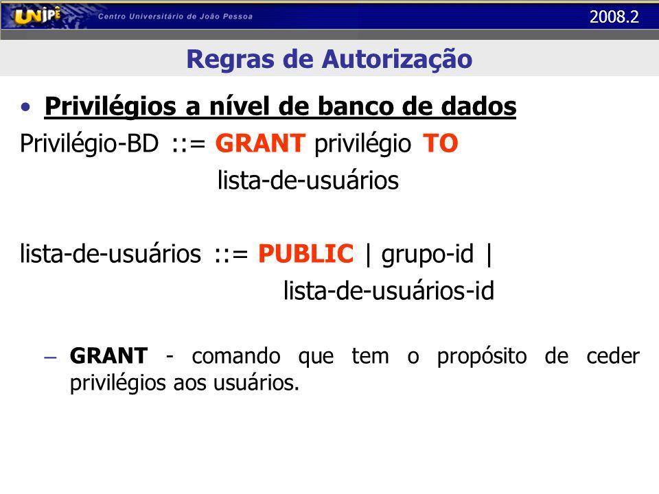 2008.2 Regras de Autorização Privilégios a nível de banco de dados Privilégio-BD ::= GRANT privilégio TO lista-de-usuários lista-de-usuários ::= PUBLI