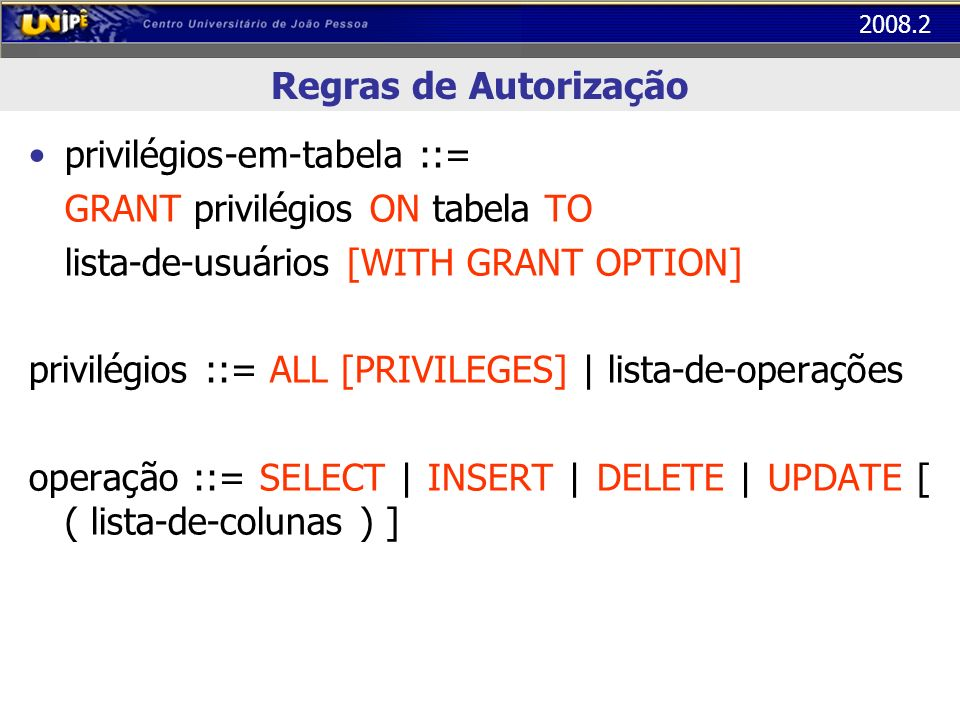 2008.2 Regras de Autorização privilégios-em-tabela ::= GRANT privilégios ON tabela TO lista-de-usuários [WITH GRANT OPTION] privilégios ::= ALL [PRIVI