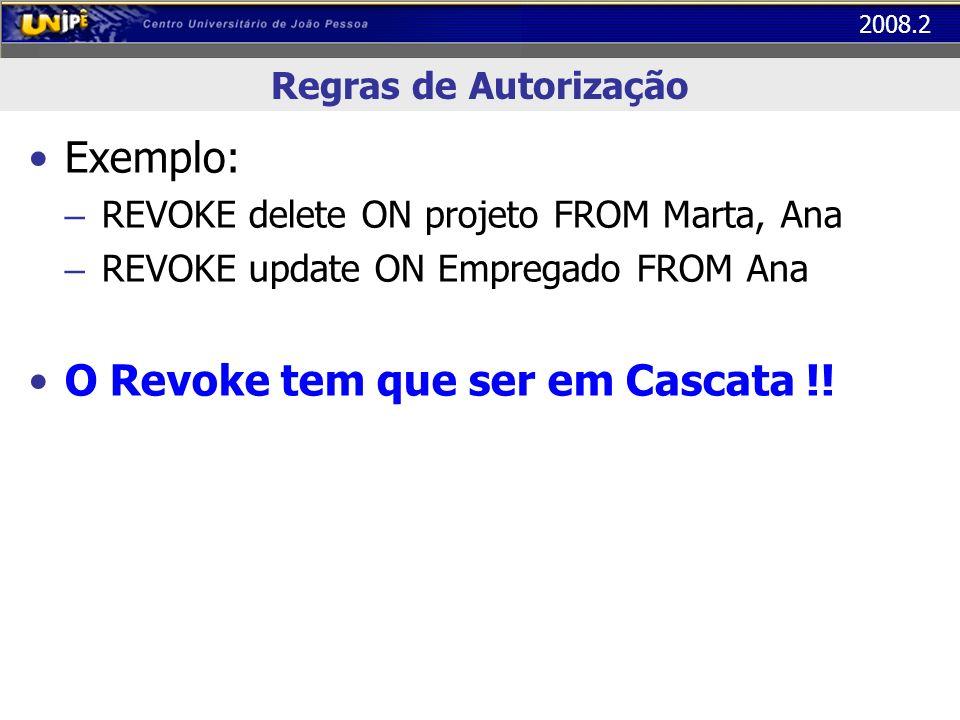 2008.2 Regras de Autorização Exemplo: – REVOKE delete ON projeto FROM Marta, Ana – REVOKE update ON Empregado FROM Ana O Revoke tem que ser em Cascata