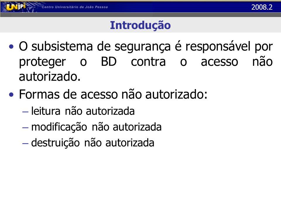 2008.2 Introdução O subsistema de segurança é responsável por proteger o BD contra o acesso não autorizado. Formas de acesso não autorizado: – leitura
