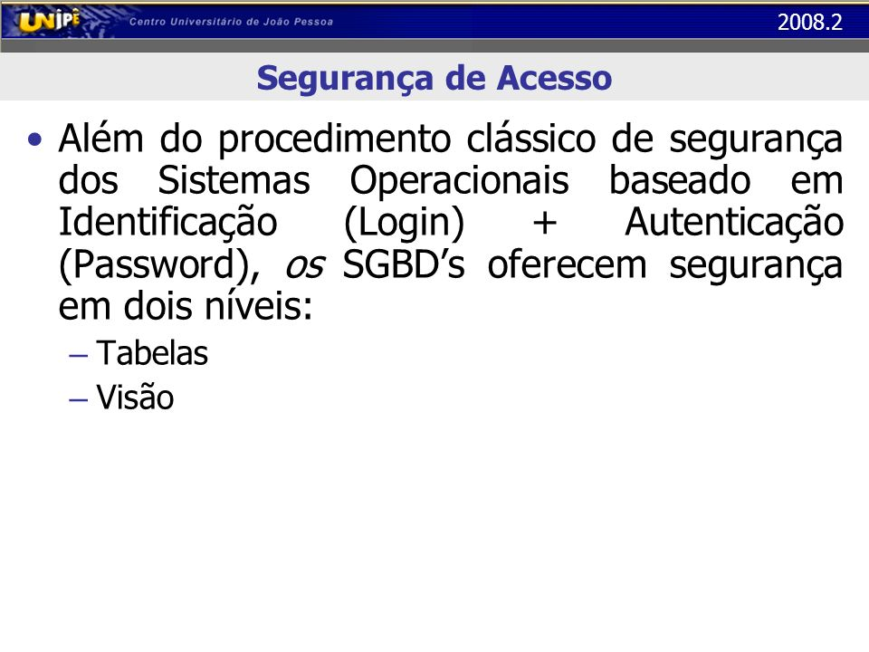 2008.2 Segurança de Acesso Além do procedimento clássico de segurança dos Sistemas Operacionais baseado em Identificação (Login) + Autenticação (Passw