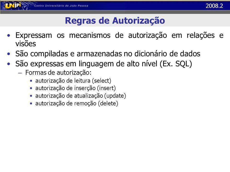 2008.2 Regras de Autorização Expressam os mecanismos de autorização em relações e visões São compiladas e armazenadas no dicionário de dados São expre